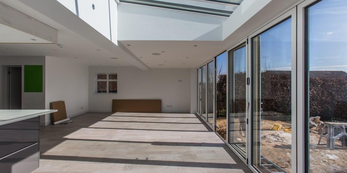 Patio doors and garden in Harpenden kitchen extension