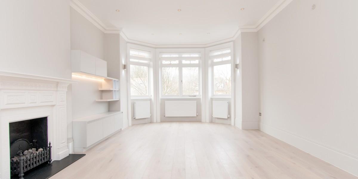 Bay windows in living room, Goldhurst Terrace apartment refurbishment