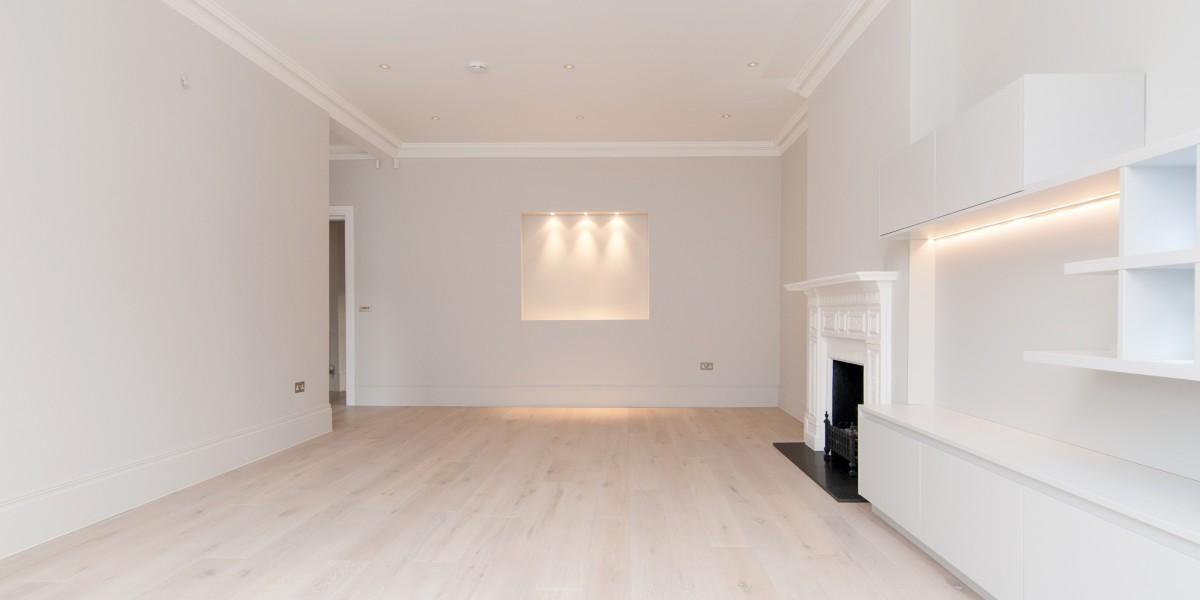Illuminated panel in living room, Goldhurst Terrace apartment refurbishment