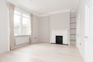 Living room and fireplace, Goldhurst Terrace apartment refurbishment
