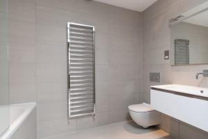 Towel rack in bathroom, Goldhurst Terrace apartment refurbishment
