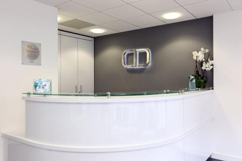 Reception close-up, Charles Landau dental practice refurbishment