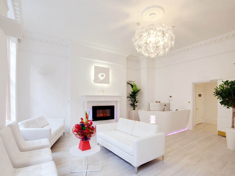 Waiting room in Harley Street surgery interior design