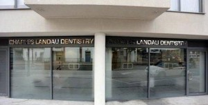 "Exterior sign, ""DENTISTRY CHARLES LANDAU"", Charles Landau dental practice refurbishment"