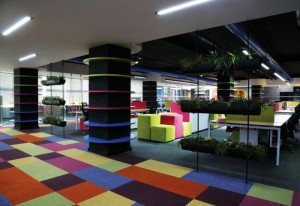 A bright and colouful office to create a productive workspace