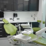 Green dentist chair