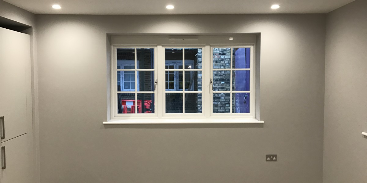 Grey wall with window at Cornwall Works