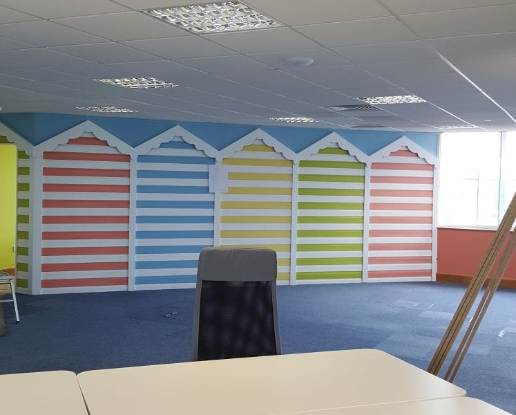 Beach hut themed interior at Hemel Hemstead office