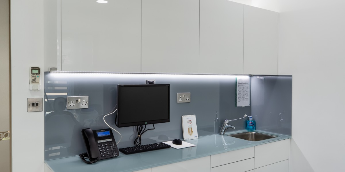 Working area inside surgery at Dentaltree dental practice Finchley Road, London