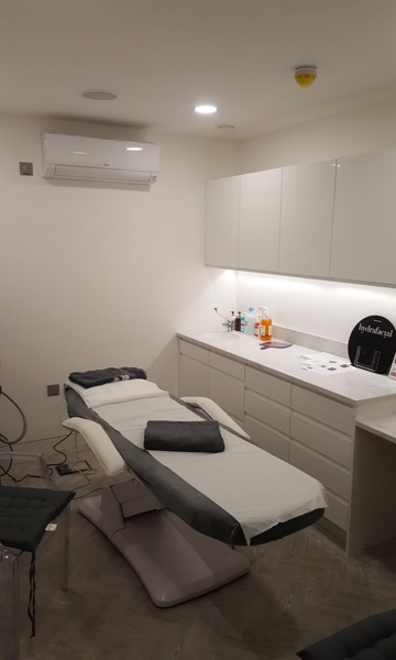 Treatment room at the Glasshouse aesthetic clinic