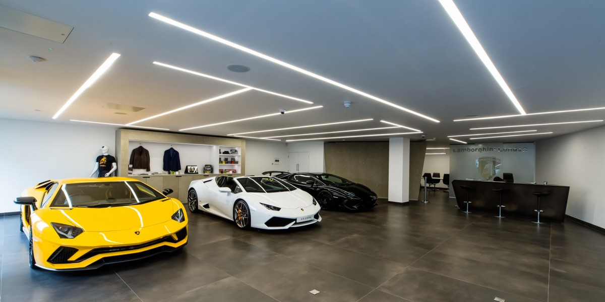 View of cars inside refurbished South Kensington Lamborghini showroom