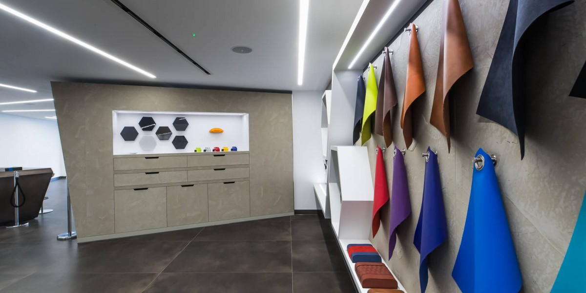 Display of finishes in refurbished South Kensington Lamborghini showroom