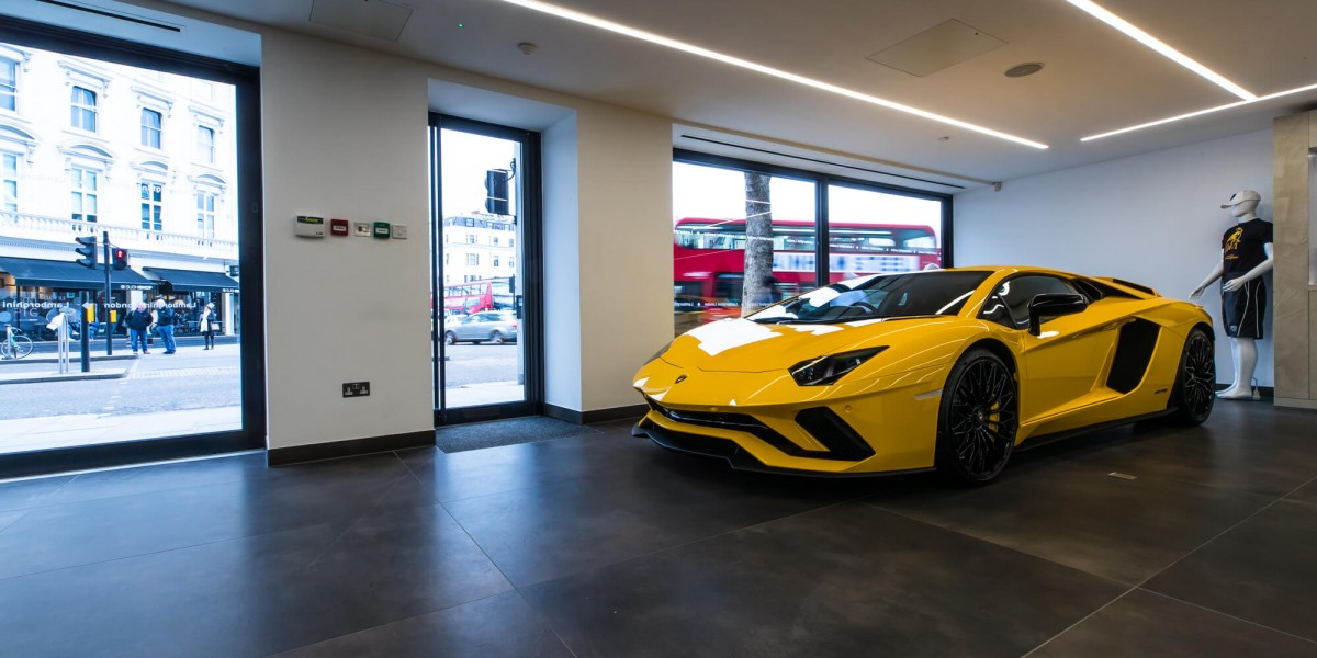 Yellow Lamborghini in refurbished Kensington showroom