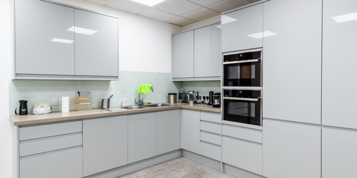 Staff kitchen at JBR Capital, Finchley Road, London