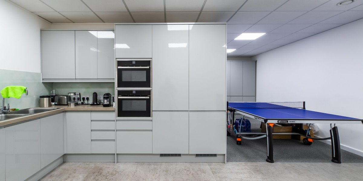 Staff kitchen and recreational area at JBR Capital, Finchley Road, London