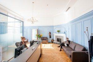 Stylish reception area in dental practice