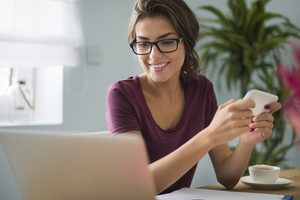 Clinic client on laptop