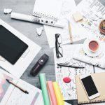 Untidy but creative desk