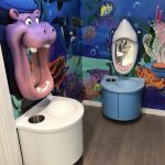 Children's dentist tooth brushing stations
