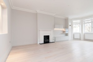 Living room and fireplace. Goldhurst Terrace apartment refurbishment