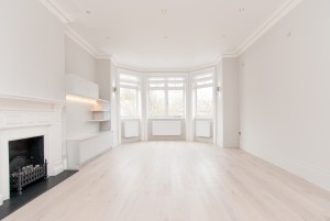 Bay windows in living room, Goldhurst Terrace apartment refurbishment