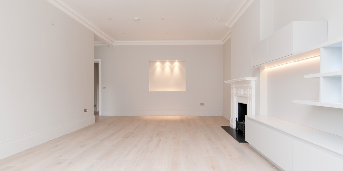 Illuminated panel in living room, Goldhurst Terrace apartment refurbishment