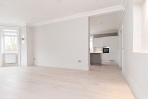 View of kitcken from living room, Goldhurst Terrace apartment refurbishment