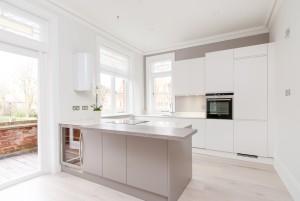 Island unit in kitchen, Goldhurst Terrace apartment refurbishment