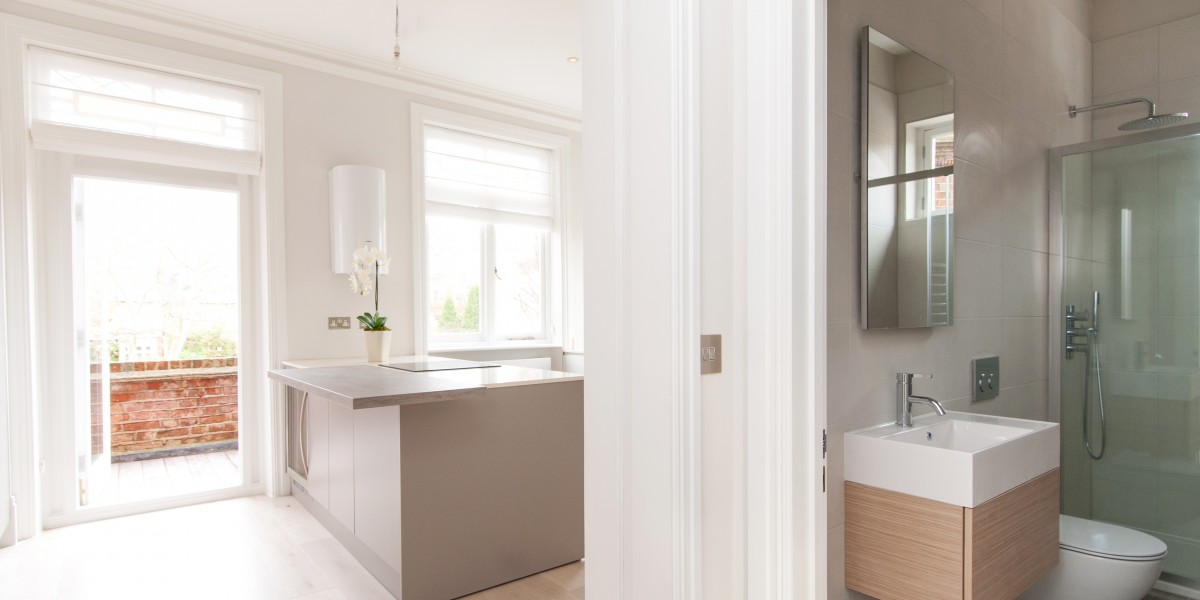 Bathroom and kitchen, Goldhurst Terrace apartment refurbishment