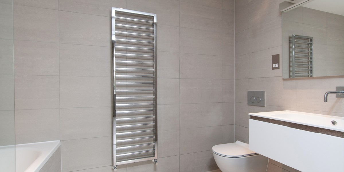 Towel rack in bathroom, Goldhurst Terrace apartment refurbishment