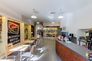 Cafe of Museum of Brands following new commercial refurbishment