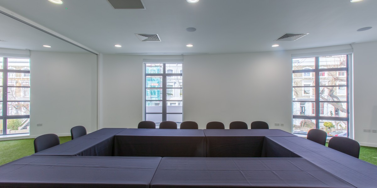 meeting room tables in rectangle arrangement