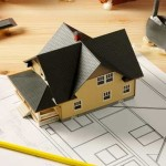 Architect drawings and house model