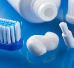 Selection of toothbrushes and toothpaste