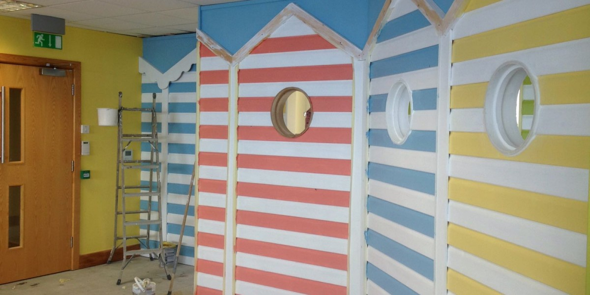 Beach hut themed interior wall at office in Hemel Hempstead
