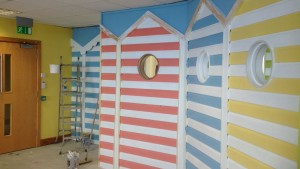 Beach hut themed interior wall at office in Hemel Hempstead