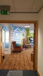 Beach hut themed interior at Hemel Hemstead office relocation