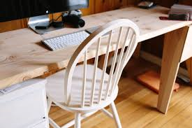 White chair at desk