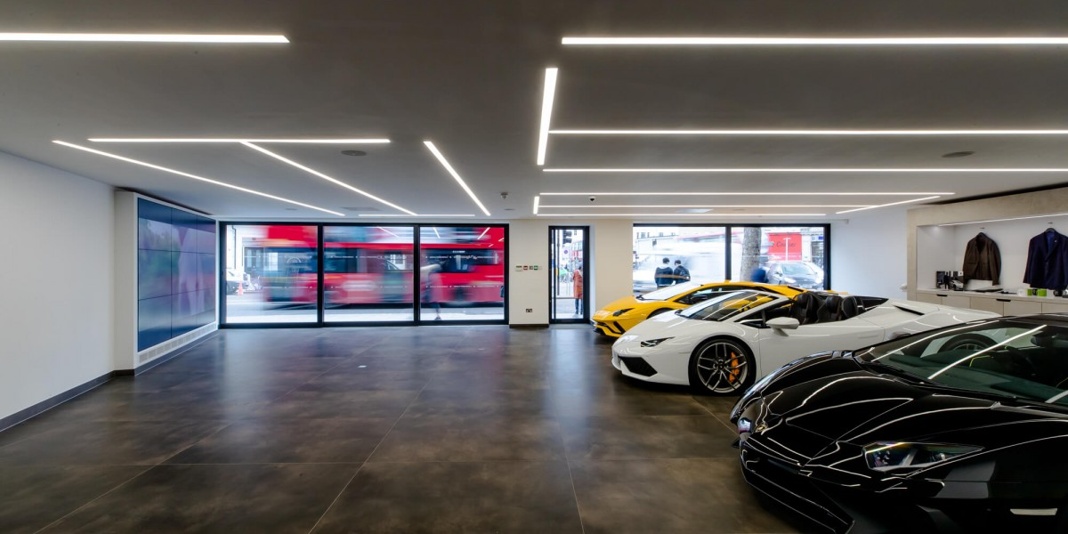 Side view of Lamborghinis in refurbished South Kensington showroom