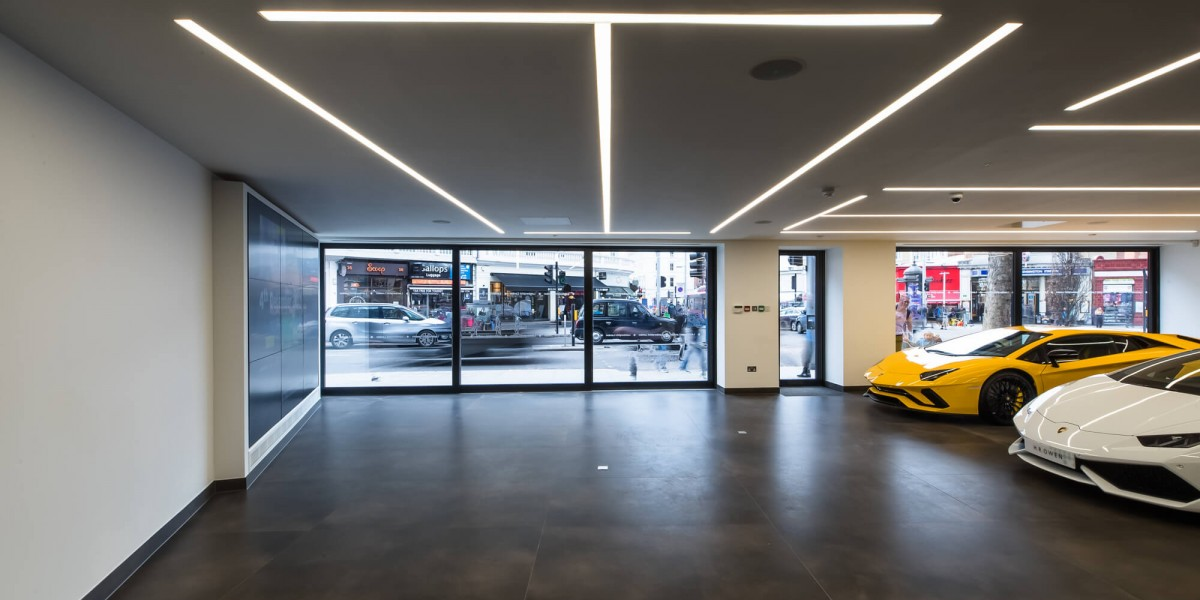 Window of refurbished Lamborghini showroom from inside