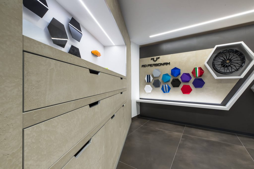 Display case and storage in refurbished South Kensington Lamborghini showroom