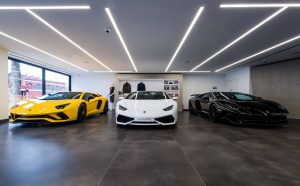 Three Lamborghinis in refurbished South Kensington showroom