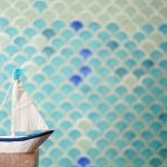 Fish scale tiles in bathroom
