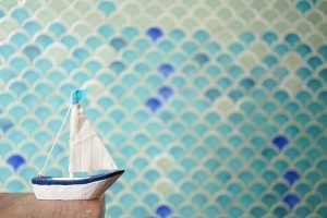Fish scale tiles in bathroom