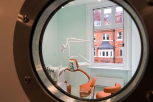 Porthole window at underwater themed Happy Kids dentist