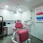 Pink dentist's chair