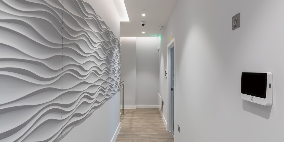 Textured wall in dental clinic