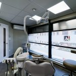 Dental treatment room with large window at Angle House practice