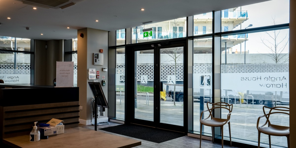 Interior view of reception area at Angle House dental clinic