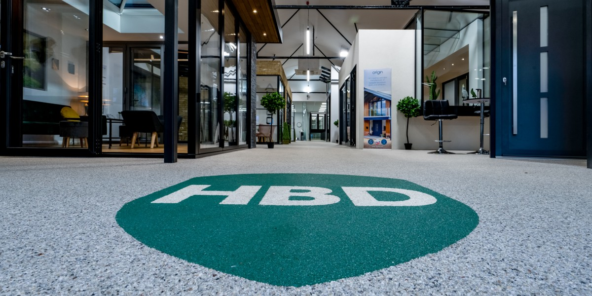HBD Systems logo on floor of showroom